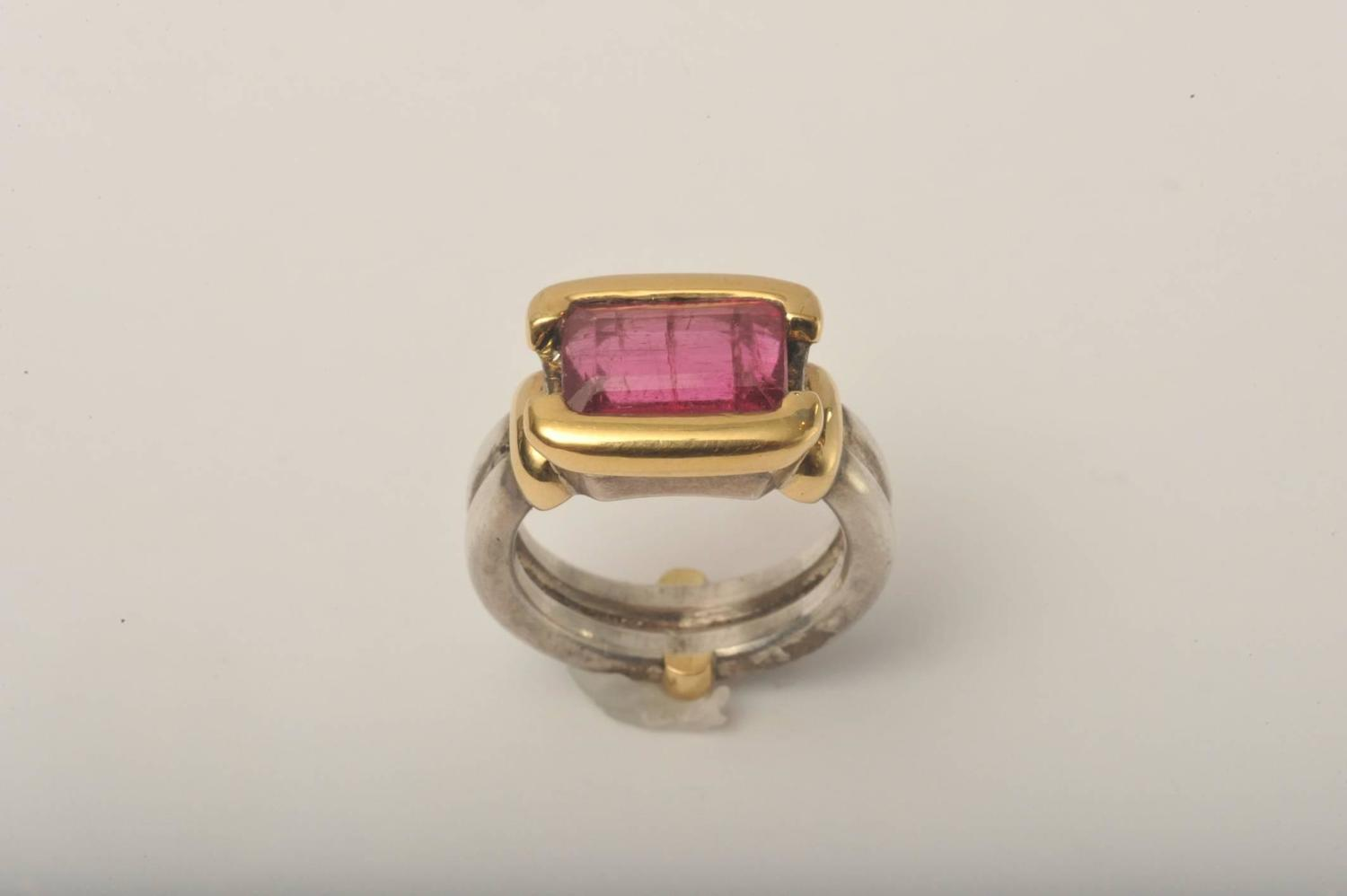 pink tourmaline sterling silver gold ring at 1stdibs