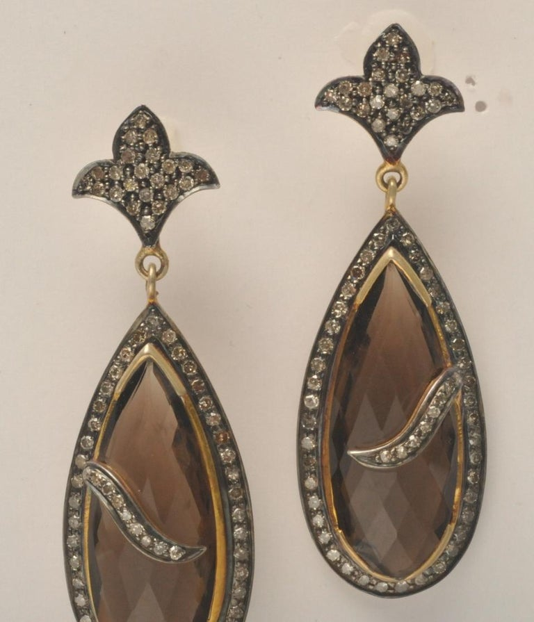 Smokey Quartz Faceted Earrings with Pave, Set Diamonds In Excellent Condition For Sale In Nantucket, MA