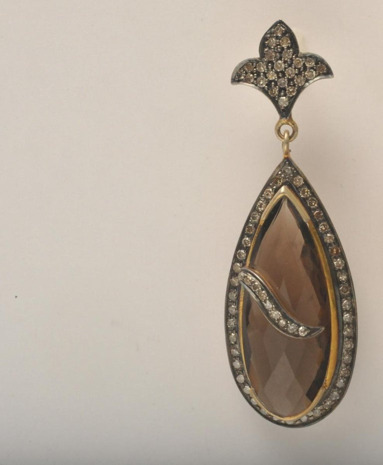 Women's Smokey Quartz Faceted Earrings with Pave, Set Diamonds For Sale