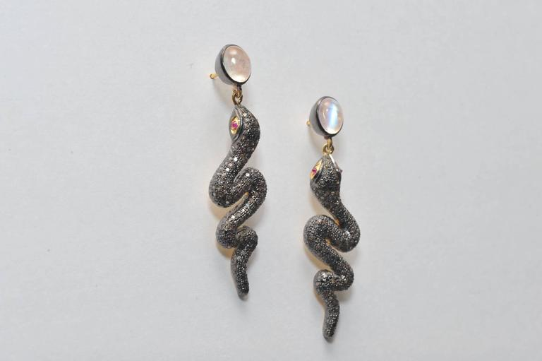 Rose Quartz and Pave` Diamond Snake Earrings with Ruby Eyes 2
