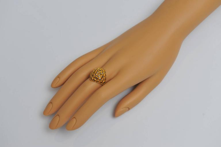Mosaic of Rosecut Diamonds and 22 Karat Gold Bombe Cactus Flower Ring In Excellent Condition For Sale In Nantucket, MA
