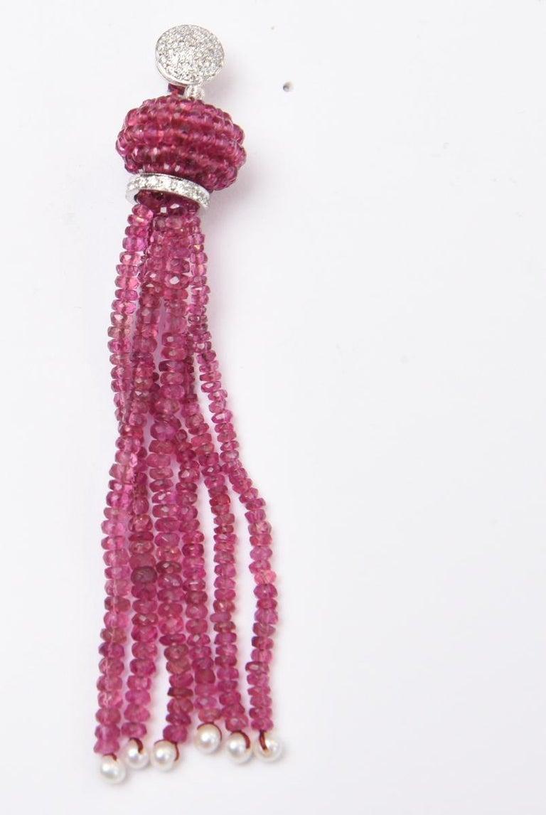 Women's or Men's Pink Tourmaline Diamond Gold Tassel Earrings For Sale