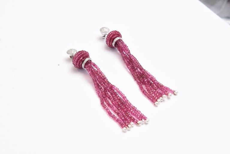 Pink Tourmaline Diamond Gold Tassel Earrings For Sale 1