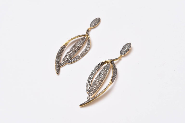 Pave Set Diamond Drop Earrings 2