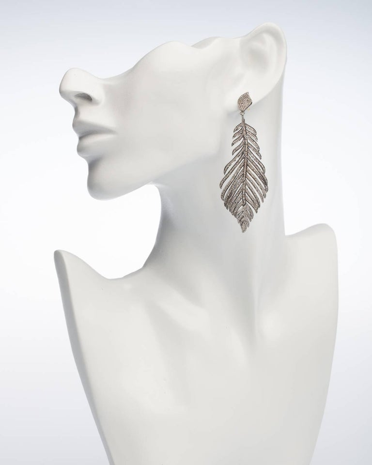 Contemporary Pave`-Set Diamond Feather Earrings For Sale