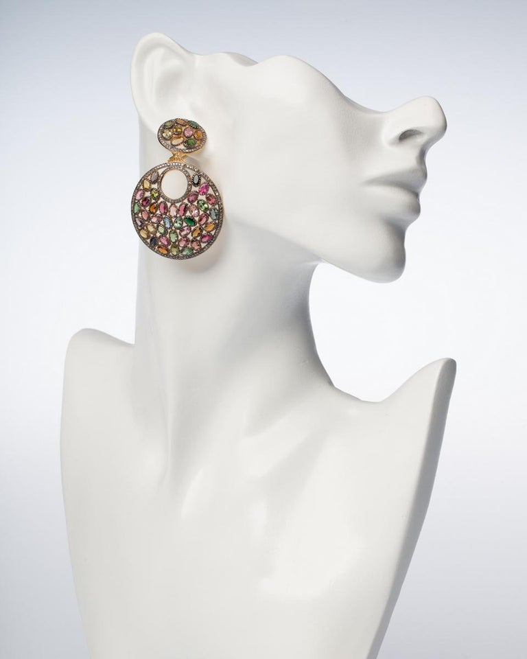 Faceted Tourmaline and Diamond Earrings In Excellent Condition For Sale In Nantucket, MA