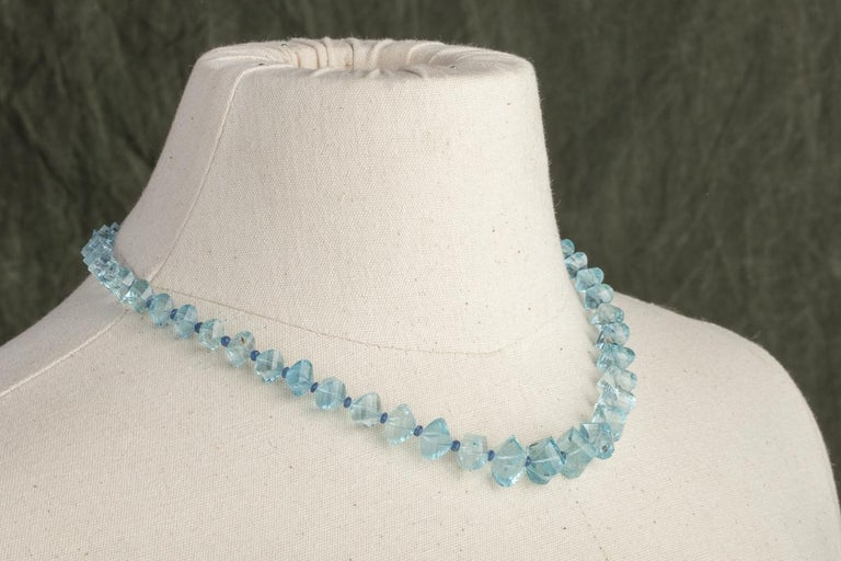 Faceted Aquamarine and Sapphire Necklace In Excellent Condition For Sale In Nantucket, MA