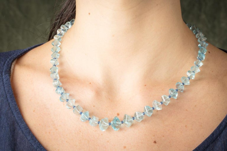 Women's or Men's Faceted Aquamarine and Sapphire Necklace For Sale