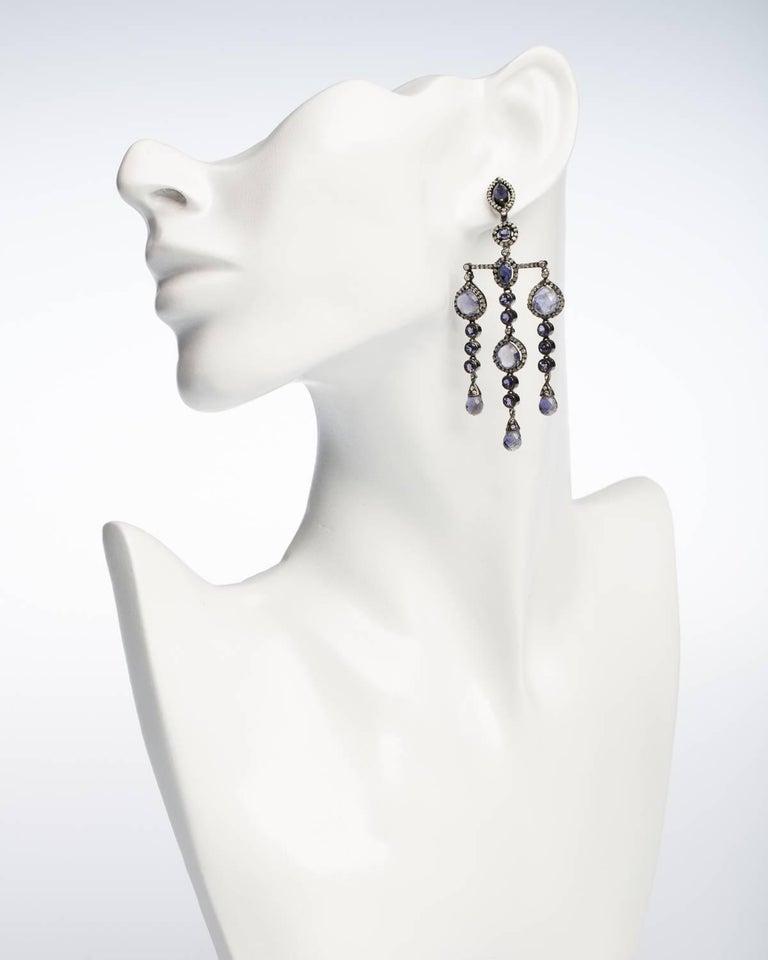 Art Deco Iolite and Diamond Dangle Earrings For Sale