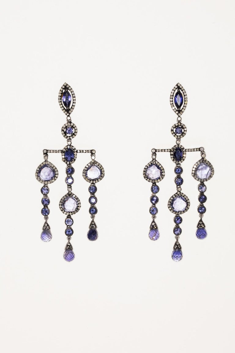 Iolite and Diamond Dangle Earrings In Excellent Condition For Sale In Nantucket, MA