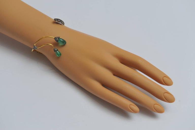 Tumbled Emerald, Pavé Diamond and 18 Karat Gold Wrap Bracelet For Sale 1