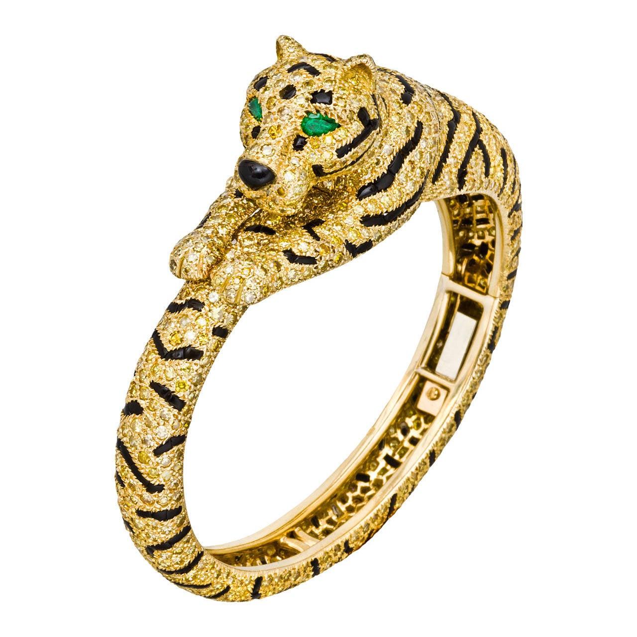Cartier Onyx Emerald Diamond Gold Tiger Bangle Bracelet At