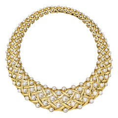 Chanel Pearl Gold Collar Necklace