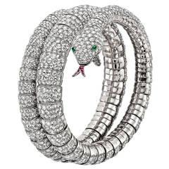 Pave Diamond Gold Snake Wrap Bracelet