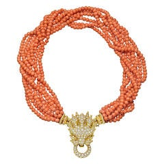 Hemmerle Coral Diamond Gold Lion Head Necklace