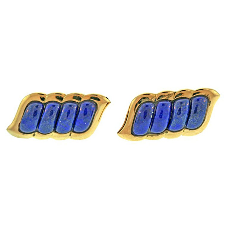 Boucheron Lapis Gold Cufflinks