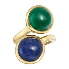 David Webb Cabochon Emerald Sapphire Ring