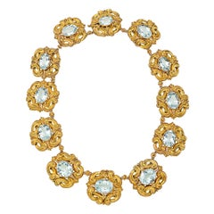 Georgian Aquamarine Gold Link Necklace
