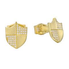 Paul Morelli Pave Diamond Gold Shield Cufflinks