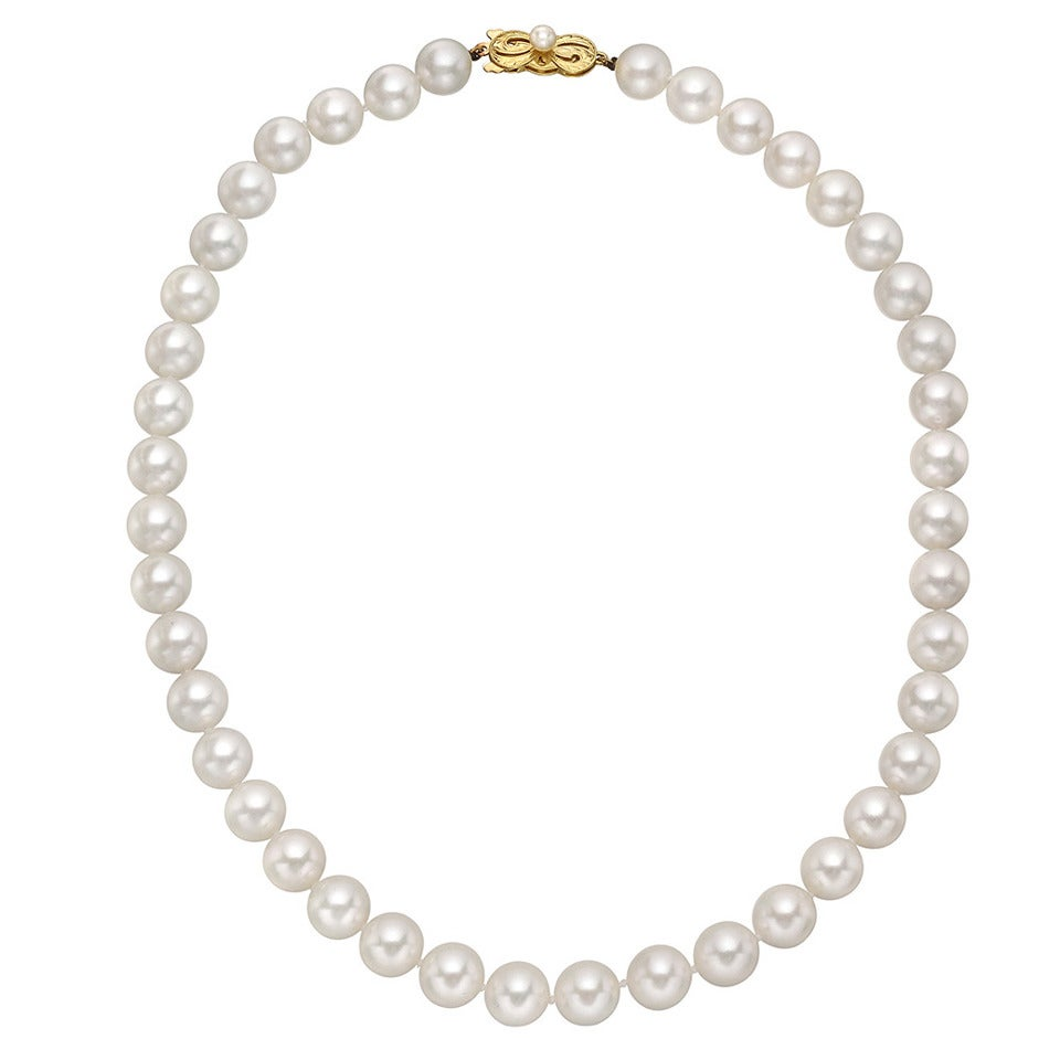 mikimoto cultured akoya pearl necklace at 1stdibs