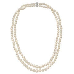 Tiffany & Co. Two-Strand Pearl Necklace with Diamond-Set Clasp