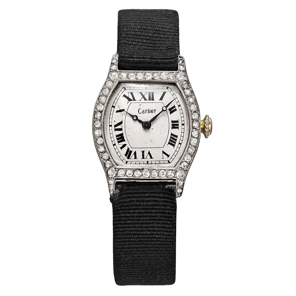 Cartier Platinum: Cartier Lady's Platinum Diamond Tortue Wristwatch Circa