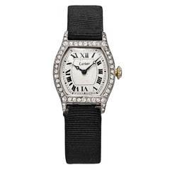 Cartier Lady's Platinum Diamond Tortue Wristwatch Circa 1920s