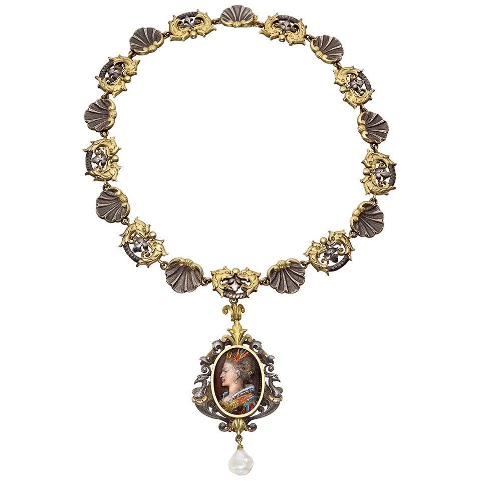 Antique Limoges Enamel Silver Gold Renaissance Revival Necklace