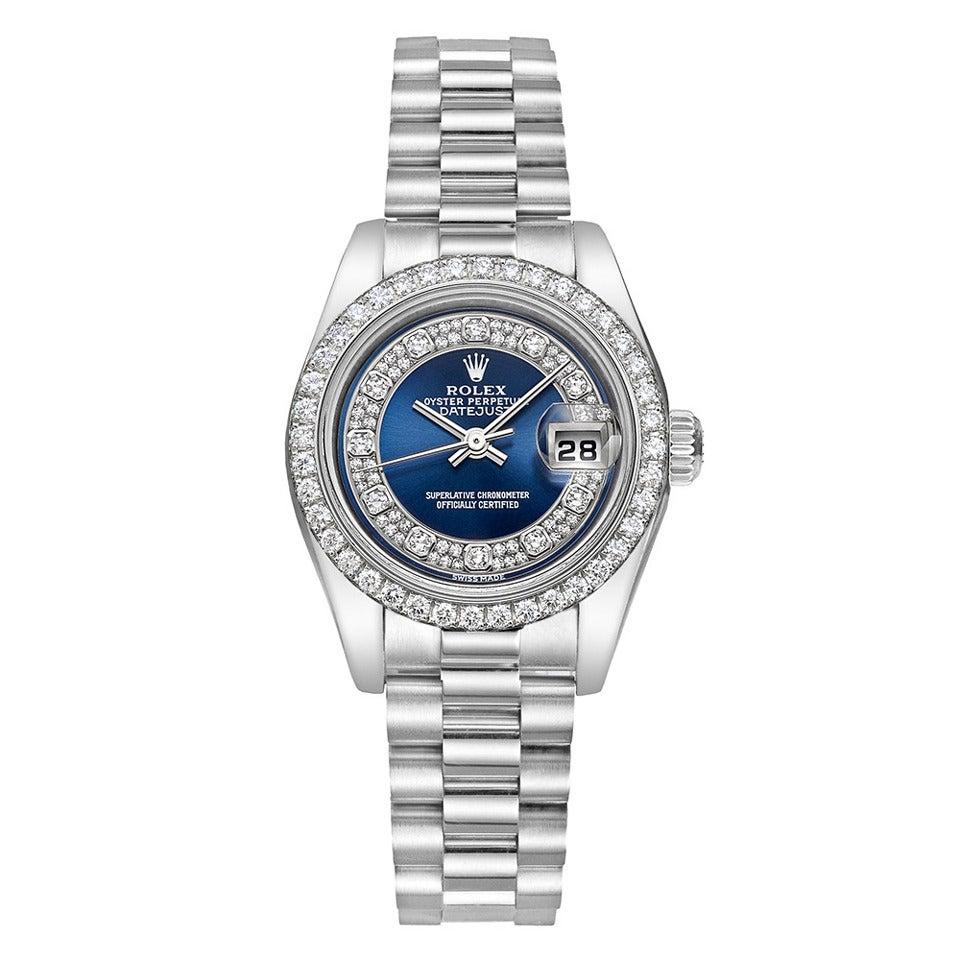 Rolex Lady's Platinum Diamond Datejust President Wristwatch at 1stdibs