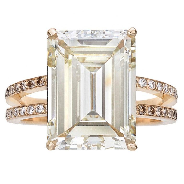 9.54 Carat Fancy Light Brownish Yellow Diamond Ring For Sale