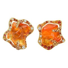 Dorota Fire Opal Sapphire Gold Flame Earrings