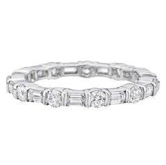 Round and Emerald-Cut Diamond Platinum Eternity Band