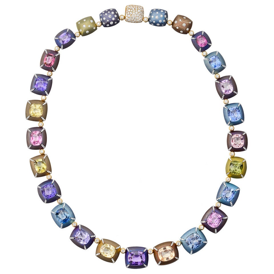 Manuel Bouvier Multicolored Sapphire Diamond Gold Titanium Necklace