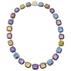 Manuel Bouvier Multicolored Sapphire Diamond Gold Titanium Necklace