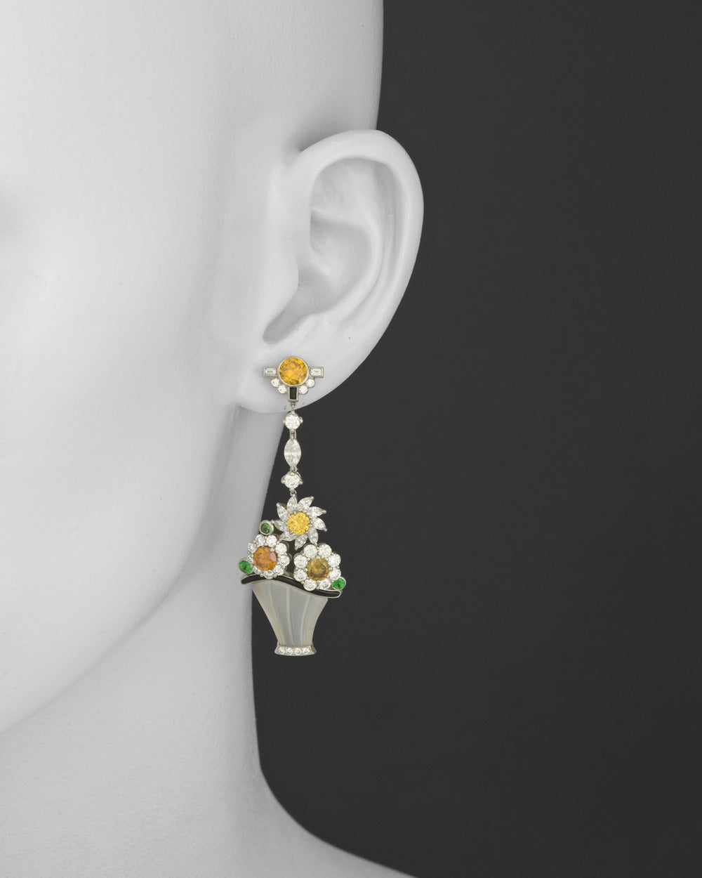 Raymond C. Yard Multicolored Diamond Flower Basket Earrings 2