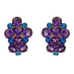 Peggy Stephaich Guinness Amethyst Apatite Gold Cluster Earrings