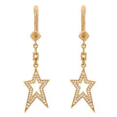 Nicole Khristine Diamond Rose Gold Star Drop Earrings