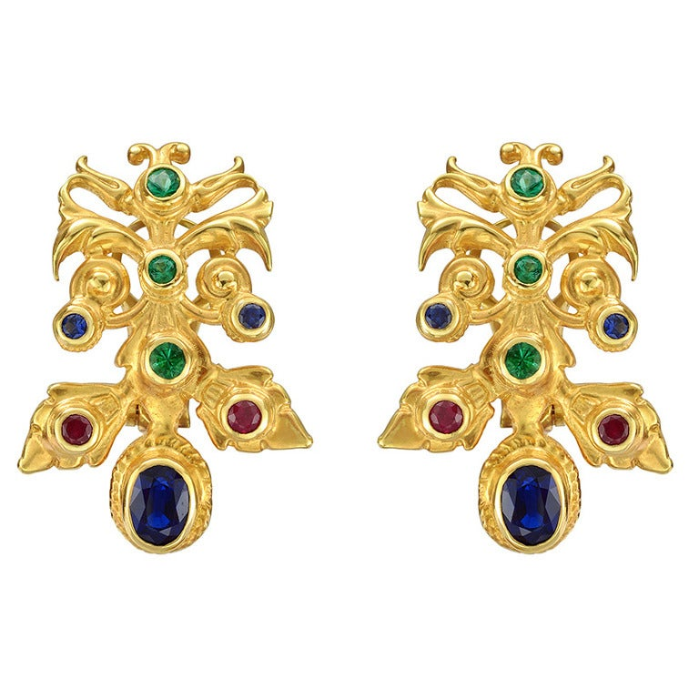 Peggy Stephaich Guinness Gemstone Gold Hungarian Earclips