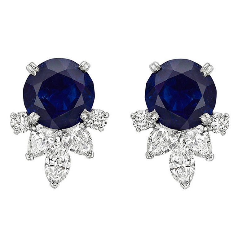 Sapphire Diamond Platinum Cluster Earrings For Sale