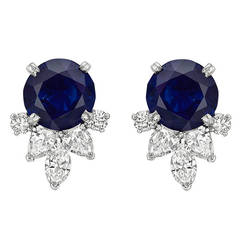 Sapphire Diamond Platinum Cluster Earrings