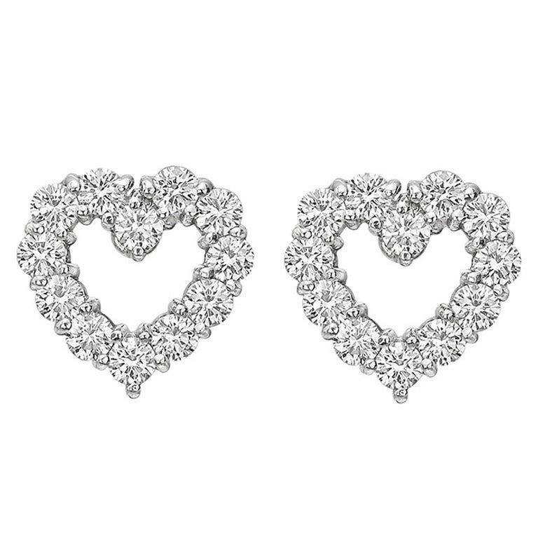 Tiffany & Co. Diamond Platinum Open Heart Earstuds 1