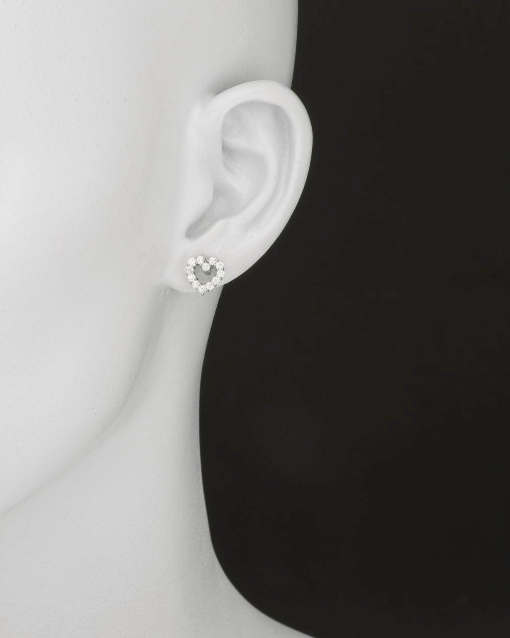 Tiffany & Co. Diamond Platinum Open Heart Earstuds 2