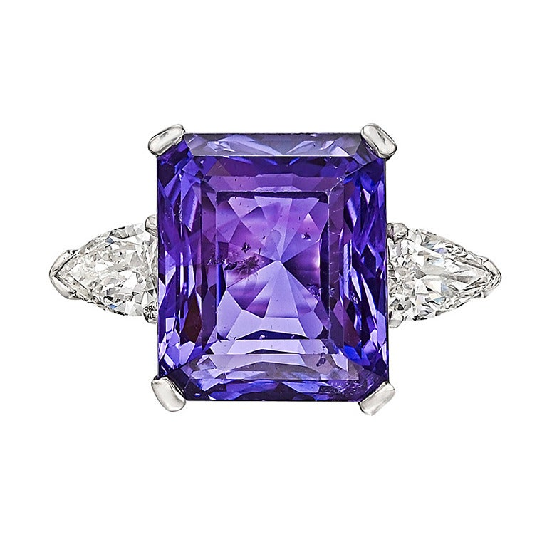 Purple Sapphire Rings Pear Shaped