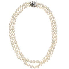 Two Strand Pearl Necklace with Gem-Set Clasp