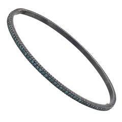 Yossi Harari Lilah Blue Diamond Oxidized Silver Bangle