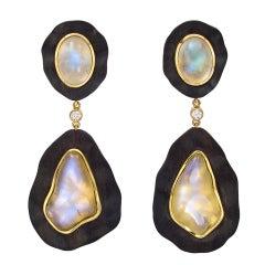 Dorota Ebony Moonstone Gold Pendant Earclips