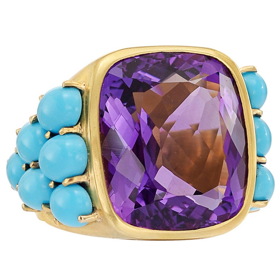Peggy Stephaich Guinness Amethyst Turquoise Gold Mumus Ring