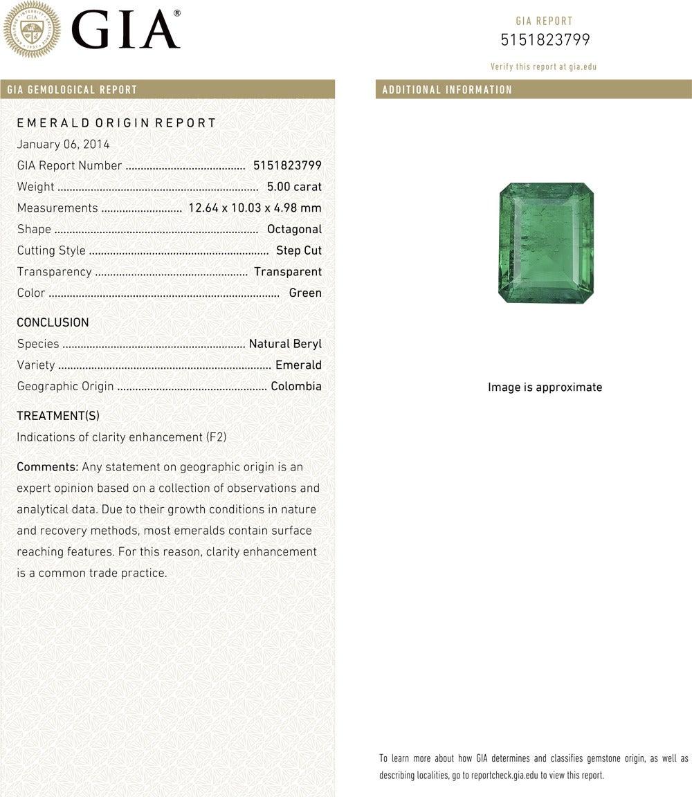 5.00 Carat Colombian Emerald Diamond Ring 3