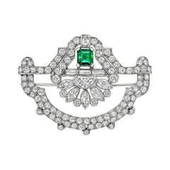 Art Deco Emerald Diamond Panel Brooch