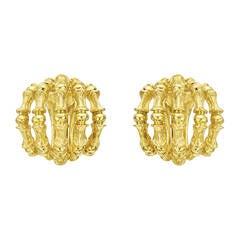 "Tiffany & Co. Yellow Gold ""Bamboo"" Earclips"